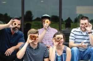 From left: Dan Stewart, Daniel Green, Garrett DeRossett, Sharon Kuntz, and Stephen Parke were the Deep team who originally envisioned the Donut Doubles campaign.