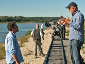 Ben Affleck rehearses a scene with director David Fincher on the set of Gone Girl, which was shot in Cape Girardeau. Courtesy of Merrick Morton and 20th Century Fox.