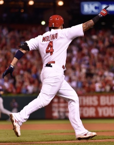 Yadier Molina circles the bases after hitting a home run on June 15, 2015. Photo by Scott Rovak of the St. Louis Cardinals.