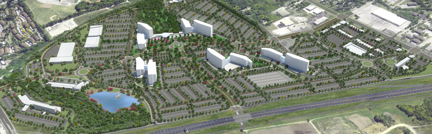 An aerial rendering of the new Cerner campus in Kansas City.