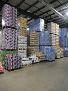 Stacks of beer cases wait to be distributed in Fechtel's Jefferson City warehouse.